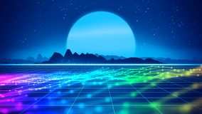 Retro futuristic background 1980s style 3d illustration. Digital landscape in a cyber world. For use as music album cover Stock Image