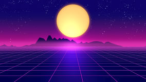 Retro futuristic background 1980s style 3d illustration. Royalty Free Stock Photography