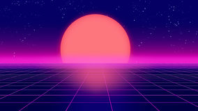 Retro futuristic background 1980s style 3d illustration. Digital landscape in a cyber Royalty Free Stock Photography