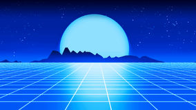 Retro futuristic background 1980s style 3d illustration. Royalty Free Stock Photo
