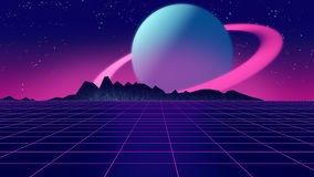 Retro futuristic background 1980s style 3d illustration. Stock Photography