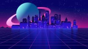 Retro futuristic background 1980s style 3d illustration. Stock Image