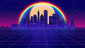Retro futuristic background 1980s style 3d illustration. Digital landscape in a cyber world. For use as music album cover Royalty Free Illustration