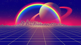 Retro futuristic background 1980s style 3d illustration. Digital landscape in a cyber Stock Photos