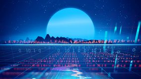 Retro futuristic background 1980s style 3d illustration. Digital landscape in a cyber world. For use as music album cover Royalty Free Stock Photography