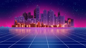 Retro futuristic background 1980s style 3d illustration. Digital landscape in a cyber world. For use as music album cover Stock Photos