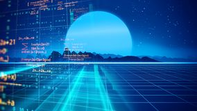 Retro futuristic background 1980s style 3d illustration. Digital landscape in a cyber world. For use as music album cover Royalty Free Stock Photo