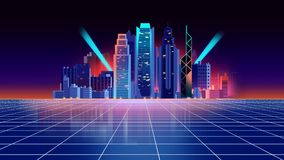 Retro futuristic background 1980s style 3d illustration. Digital landscape in a cyber world. For use as music album cover Stock Images
