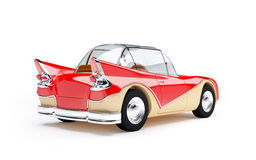 Retro futuristic car 1960 back. Red retro futuristic car from sixties in cartoon style, back view Royalty Free Stock Photography