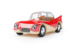 Retro futuristic car 1960. Red retro futuristic car from sixties in cartoon style stock illustration