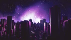 Retro futuristic city flythrough seamless loop. 80s sci-fi landscape in space