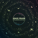 Retro futuristic frame with space, stars and Royalty Free Stock Photo