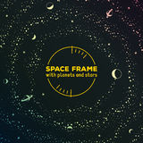Retro futuristic frame with space, stars and Stock Photo
