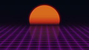 Retro Futuristic.Grid and sunset. 80s Retro Sci-fi background. 3d rendering Royalty Free Stock Photos