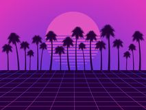 Retro futuristic landscape with palm trees. Neon sunset in the style of 80s. Synthwave retro background. Retrowave. Vector. Illustration Royalty Free Stock Photography