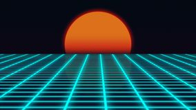 Retro futuristic landscape with sunset 1980s style, digital summer landscape with grid surface, 3D rendering. Backdrop Royalty Free Stock Images