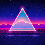 Retro futuristic landscape with triangle and shiny Stock Images