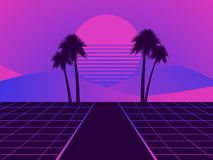 Retro Futuristic Landscape With Palm Trees. Neon Sunset In The Style Of 80s. Synthwave Retro Background. Retrowave. Vector Royalty Free Stock Photo