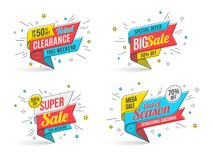 Retro-futuristic promotion banner, scroll, price tag. Vector illustration set Royalty Free Stock Photo