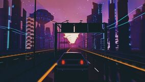 Seamless loop of cyberpunk sunset landscape with a moving car on a highway road