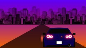 Retro-futuristic 80s style sci-Fi car background. Seamless loop 3D video animation stock illustration