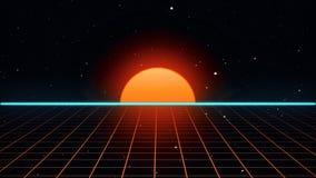 Retro futuristic 80s VHS tape video game intro landscape 3d illustration