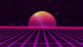 Retro futuristic 80s VHS tape video game intro landscape. Flight over the neon grid with sunrise and stars. Arcade. Vintage stylized sci-fi animation in 4K stock video