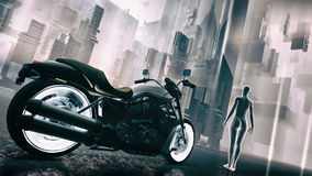 Retro Futuristic Sci-Fi Motorcycle Cityscape Illustration. Retro futuristic concept of a science fiction type of cityscape with a classic motorcycle and stock illustration