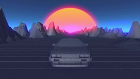 Retro futuristic seamless animation of a car with a sun in the background.  stock illustration