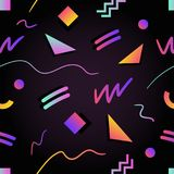 Retro futuristic seamless pattern with gradient colored squares, triangles, circles, zigzag and curved lines on black. Background. Vector illustration in 1980s Stock Images