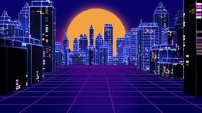 Retro futuristic skyscraper city 1980s style 3d illustration. Stock Images