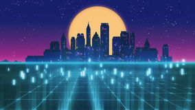 Retro futuristic skyscraper city 1980s style 3d illustration. Royalty Free Stock Image
