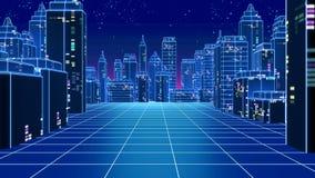 Retro futuristic skyscraper city 1980s style 3d illustration. Royalty Free Stock Photography