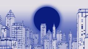 Retro futuristic skyscraper city wireframe photocopy style 3d il. Retro futuristic skyscraper city wireframe photocopy  style 3d illustration. Digital landscape Stock Image