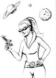 RETRO FUTURISTIC WOMAN. With sunglasses and a gun in the outer space stock illustration