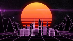 Retro futuristische cityscape van het synthnet stock footage