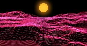Retro futuristische stijl van de achtergrondlengtejaren '80 Digitaal landschap in een cyberwereld Bekwaam aan lijn stock illustratie