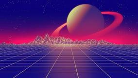 Retro futuristisk illustration för bakgrunds80-talstil 3d Arkivfoto