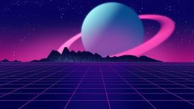 Retro futuristisk illustration för bakgrunds80-talstil 3d Arkivbild