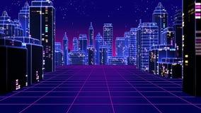Retro futuristisk illustration för stil 3d för skyskrapastads80-tal Arkivfoto