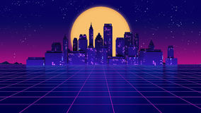 Retro futuristisk illustration för stil 3d för skyskrapastads80-tal Royaltyfri Fotografi