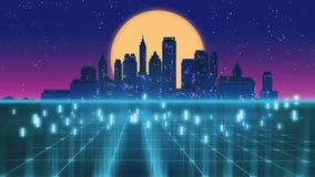 Retro futuristisk illustration för stil 3d för skyskrapastads80-tal Royaltyfri Bild