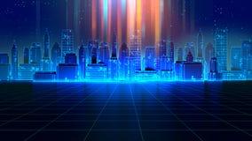 Retro futuristisk illustration för stil 3d för skyskrapastads80-tal vektor illustrationer