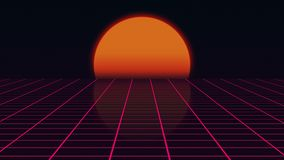 Retro futuristiskt landskap med solnedgång80-talstil, digitalt sommarlandskap med rasteryttersida, tolkning 3D stock illustrationer