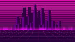 Retro futurystyczny miasto w stylu 80's Cyberpunk i retro fala styl Pejzaż miejski metropolia wektor royalty ilustracja