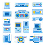 Retro gadgets from 90s in flat line style. Hipster old devices. Game and media tech things. Trendy vector web icon set Stock Illustration