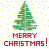 Retro game christmas tree. Winter Holiday pixel greetings card, illustration of a scoreboard composition with digital drawing of a Christmas tree Royalty Free Illustration