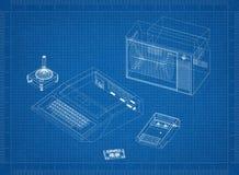 Retro Game Console Architect blueprint. Shoot Of The Retro Game Console Architect blueprint Royalty Free Stock Image