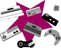 Retro game console and joysticks Royalty Free Stock Photo