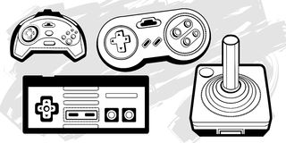 Retro Game Controllers vector illustration